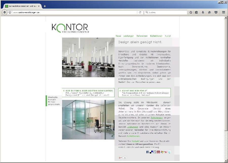 Screenshot alte Webseite von KONTOR